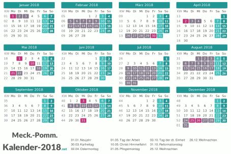 Kalender mit Ferien Meck-Pomm 2018 Vorschau