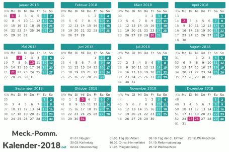 Meck-Pomm Kalender 2018 + Feiertage Vorschau