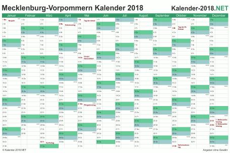 Vorschau Kalender 2018 für EXCEL mit Feiertagen Meck-Pomm