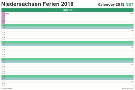 Vorschau EXCEL-Monatskalender 2018 mit den Ferien Niedersachsen