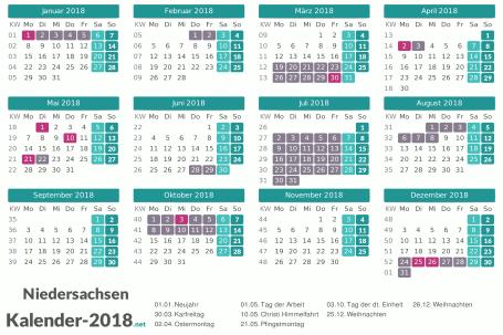 Kalender mit Ferien Niedersachsen 2018 Vorschau