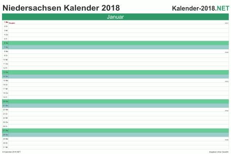 Vorschau Monatskalender 2018 für EXCEL Niedersachsen