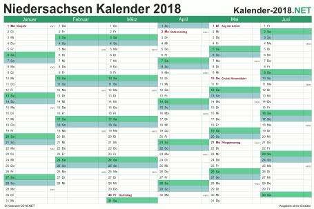 Vorschau Halbjahreskalender 2018 für EXCEL Niedersachsen