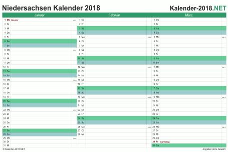 Vorschau Quartalskalender 2018 für EXCEL Niedersachsen