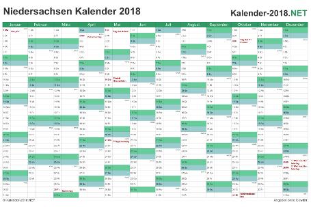 Vorschau Kalender 2018 für EXCEL mit Feiertagen Niedersachsen