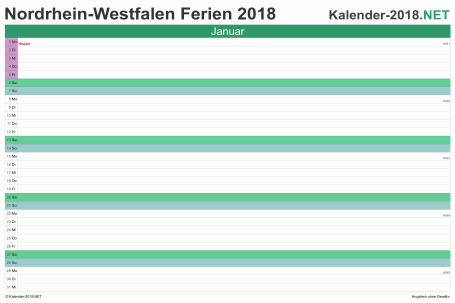 Vorschau EXCEL-Monatskalender 2018 mit den Ferien Nordrhein-Westfalen