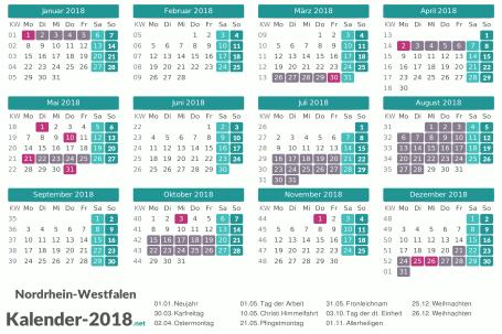 Kalender mit Ferien Nordrhein-Westfalen 2018 Vorschau