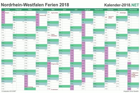 Vorschau EXCEL-Kalender 2018 mit den Ferien Nordrhein-Westfalen
