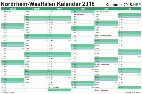 Vorschau Halbjahreskalender 2018 für EXCEL Nordrhein-Westfalen