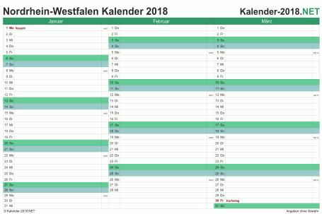 Vorschau Quartalskalender 2018 für EXCEL Nordrhein-Westfalen
