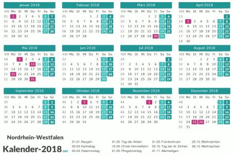 Feiertage Nordrhein-Westfalen 2018 zum Ausdrucken Vorschau