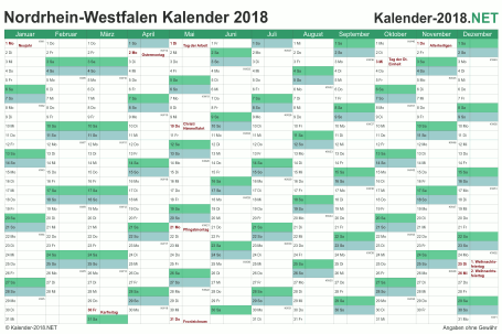 Vorschau Kalender 2018 für EXCEL mit Feiertagen Nordrhein-Westfalen
