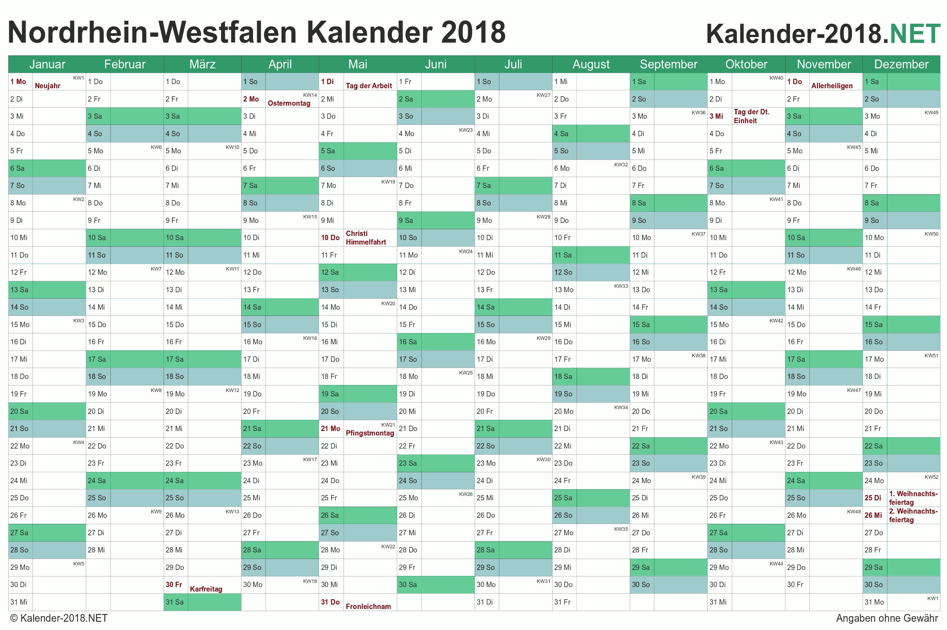 Kalender 2018 Nordrhein Westfalen