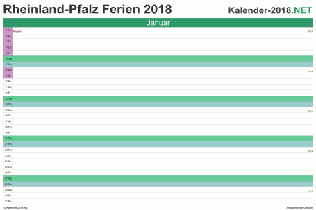 Vorschau EXCEL-Monatskalender 2018 mit den Ferien Rheinland-Pfalz