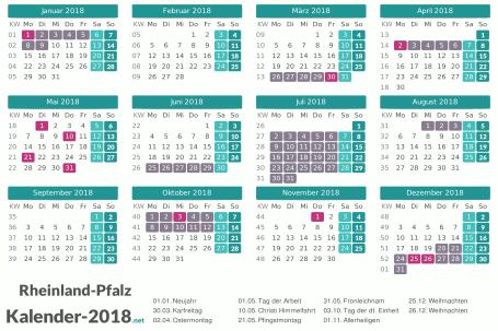 Kalender mit Ferien Rheinland-Pfalz 2018 Vorschau