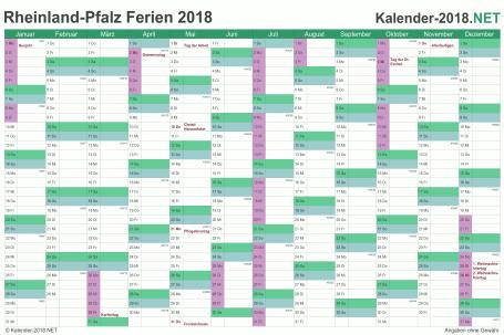 Vorschau EXCEL-Kalender 2018 mit den Ferien Rheinland-Pfalz