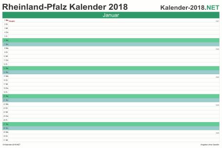 Vorschau Monatskalender 2018 für EXCEL Rheinland-Pfalz