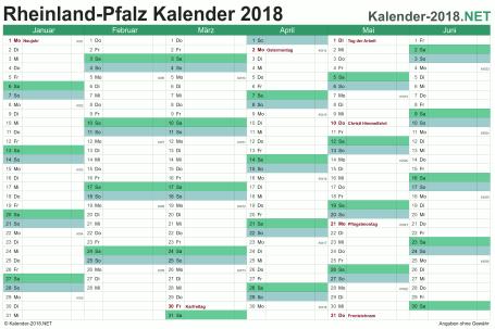 Vorschau Halbjahreskalender 2018 für EXCEL Rheinland-Pfalz
