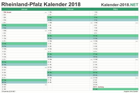 Vorschau Quartalskalender 2018 für EXCEL Rheinland-Pfalz