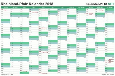 Vorschau Kalender 2018 für EXCEL mit Feiertagen Rheinland-Pfalz