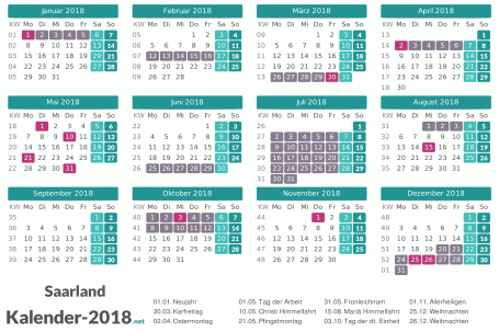 Kalender mit Ferien Saarland 2018 Vorschau