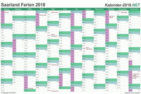 Vorschau EXCEL-Kalender 2018 mit den Ferien Saarland