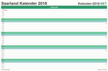 Vorschau Monatskalender 2018 für EXCEL Saarland
