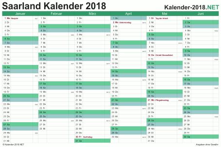 Vorschau Halbjahreskalender 2018 für EXCEL Saarland