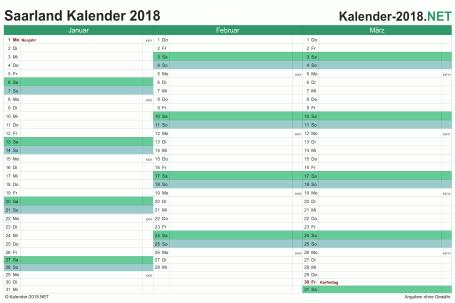 Vorschau Quartalskalender 2018 für EXCEL Saarland