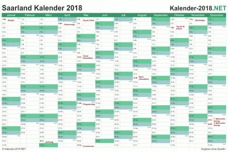 Vorschau Kalender 2018 für EXCEL mit Feiertagen Saarland