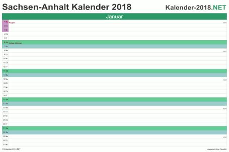 Vorschau EXCEL-Monatskalender 2018 mit den Ferien Sachsen-Anhalt