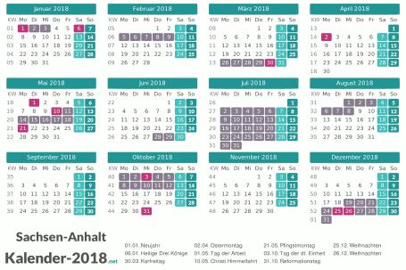 Kalender mit Ferien Sachsen-Anhalt 2018 Vorschau