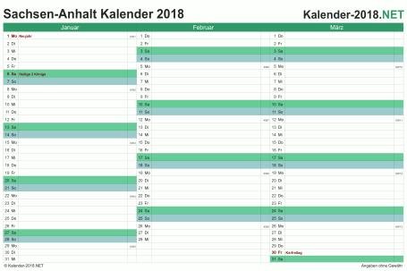 Vorschau Quartalskalender 2018 für EXCEL Sachsen-Anhalt