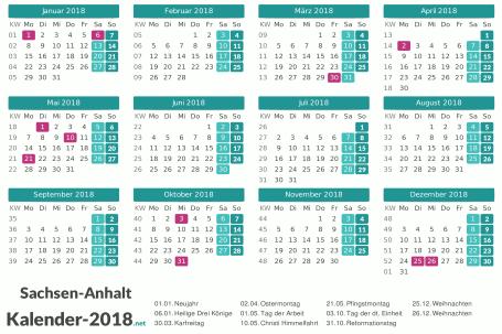 Feiertage Sachsen-Anhalt 2018 zum Ausdrucken Vorschau