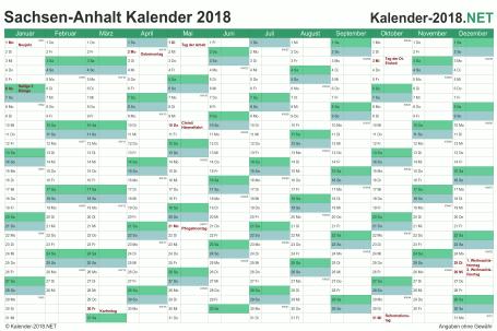 Vorschau Kalender 2018 für EXCEL mit Feiertagen Sachsen-Anhalt