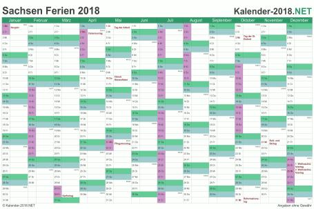 Kalender mit Ferien Sachsen 2018 Vorschau