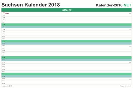 Vorschau Monatskalender 2018 für EXCEL Sachsen