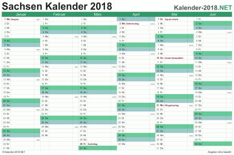 Vorschau Halbjahreskalender 2018 für EXCEL Sachsen