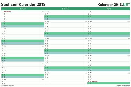 Vorschau Quartalskalender 2018 für EXCEL Sachsen