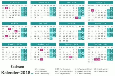 Sachsen Kalender 2018 + Feiertage Vorschau