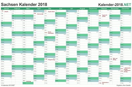 Vorschau Kalender 2018 für EXCEL mit Feiertagen Sachsen