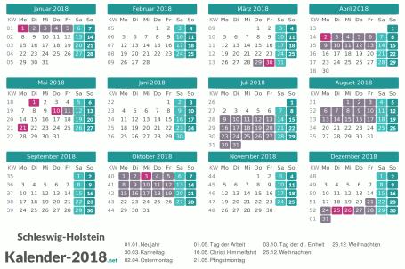 Kalender mit Ferien Schleswig-Holstein 2018 Vorschau