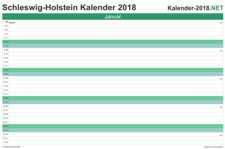 Vorschau Monatskalender 2018 für EXCEL Schleswig-Holstein