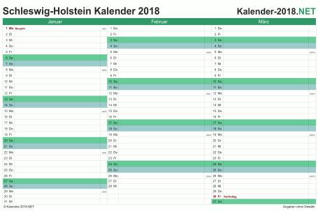 Vorschau Quartalskalender 2018 für EXCEL Schleswig-Holstein