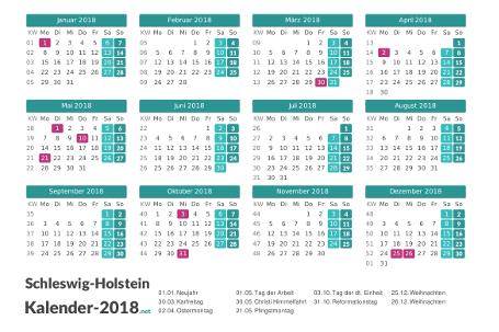 Schleswig-Holstein Kalender 2018 + Feiertage Vorschau