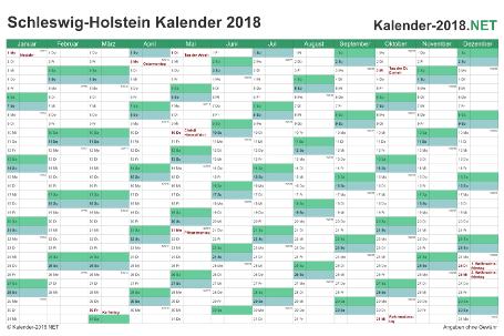 Vorschau Kalender 2018 für EXCEL mit Feiertagen Schleswig-Holstein