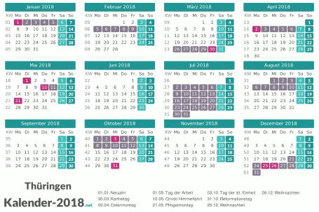 Kalender mit Ferien Thüringen 2018 Vorschau