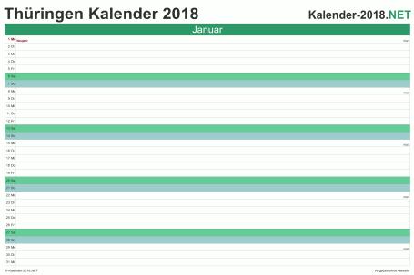 Vorschau Monatskalender 2018 für EXCEL Thüringen
