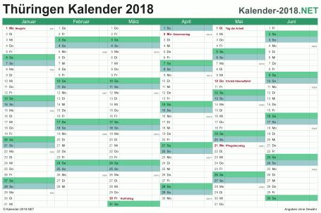 Vorschau Halbjahreskalender 2018 für EXCEL Thüringen