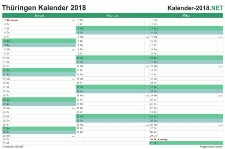 Vorschau Quartalskalender 2018 für EXCEL Thüringen